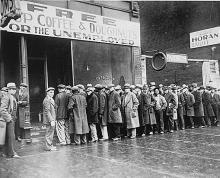 Line outside a soup kitchen