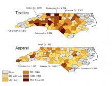 Textile and Apparel Job Loss Map
