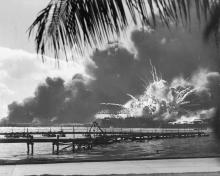 The explosion of the U.S.S. Shaw