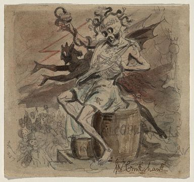"""Alcohol, Death, and the Devil"", created between 1830 and 1840 by  George Cruikshank. Image courtesy of Library of Congress."