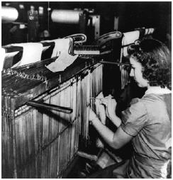 Woman working in a textile mill