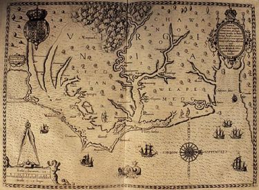 Theodore de Bry Map, 1590. Courtesy of the University of Pennsylvania Libraries.