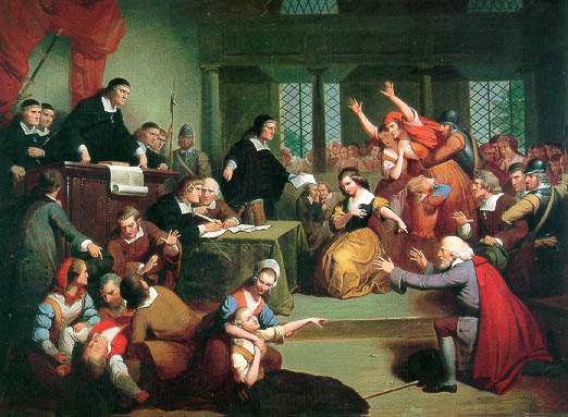 """The Trial Of George Jacobs."" Jacobs was accused of witch craft in New England during the Salem Witch Trials in 1692; he was found guilty and hanged. Image courtesy of the Four Corners Project at the University of Northern Colorado."