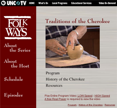 UNC TV Folk Ways: Traditions of the Cherokee site link