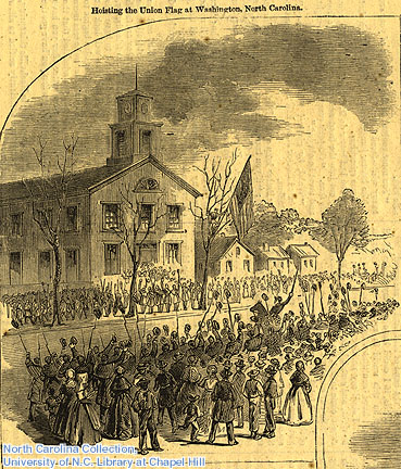 """Hoisting the Untion Flag at Washington, North Carolina."""