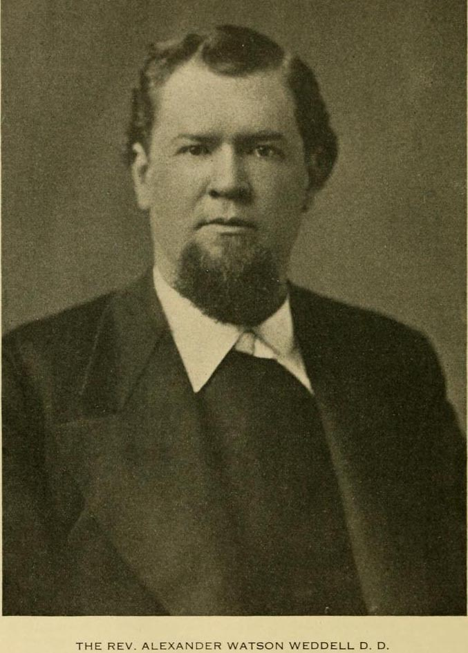Image of Alexander Watson Weddell, from Virginia: rebirth of the Old Dominion (1929), [p. 494], publlshed 1929 by Chicago: Lewis Publishing Co.. Alexander Watson Weddell was a reverend and a Virginian native. Presented on Archive.org.