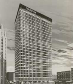 """Architectural rendering for the new Wachovia Bank Building at 301 North Main Street, 1962."" Image courtesy of Courtesy of the Forsyth County Public Library Photograph Collection."