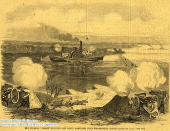 """the steams 'escort' running the rebel batteries near washington, nc. harper's weekly, may 9, 1863. courtesy of the north carolina collection, univerity of north carolina libraries."