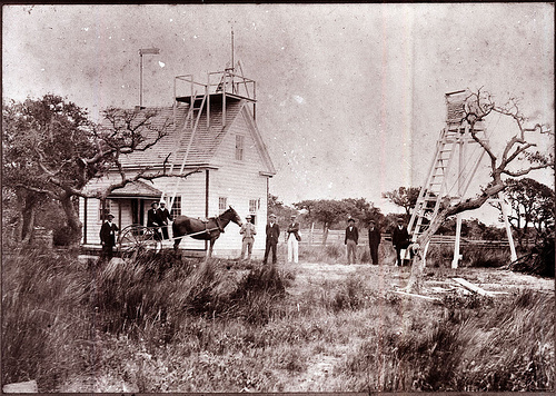 Weather Station, Hatteras Village, Roanoke Island, NC, no date (c.1900-1909). From the General Negative Collection, NC State Archives, call #:  N-77-4-19.