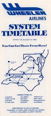 Wheeler Airlines timetable from 1984