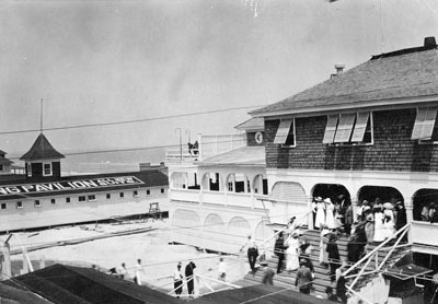 Wrightsville Beach, NC, c.1912, Tourists Gathered at the Pavillion (Lumina Pavillion). From Carolina Power and Light (CP&L) Photograph Collection (Ph.C.68), North Carolina State Archives, call #: PhC68_1_81_1.