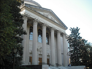 """Louis Wilson Round Library."" Image courtesy of Flickr user benuski, taken on October 6, 2008."