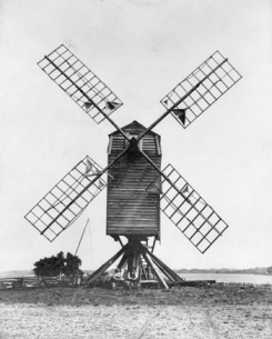 Pelletier's windmill on the shore of the White Oak River, about two miles upstream from Swansboro, ca. 1900. North Carolina Collection, University of North Carolina at Chapel Hill Library. Original photograph owned by Lionel Walter Pelletier, Stella.