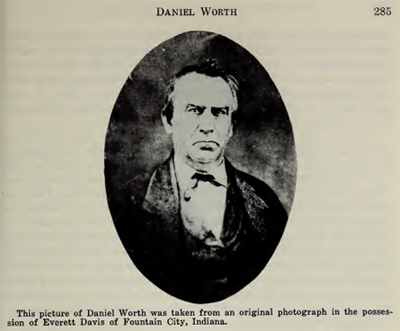 "Daniel Worth, image from North Carolina Historical Review, July 1962. Text on the image itself reads, ""This picture of Daniel Worth was taken from an original photograph in the possession of Everett Davis of Fountain City, Indiana."""