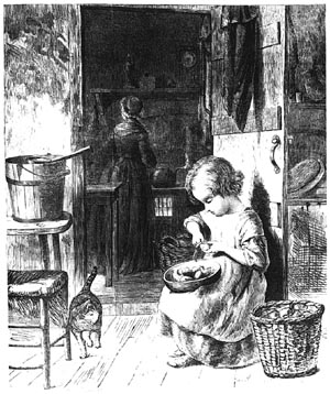 Yeoman woman and child working in the kitchen of a simple farmhouse.